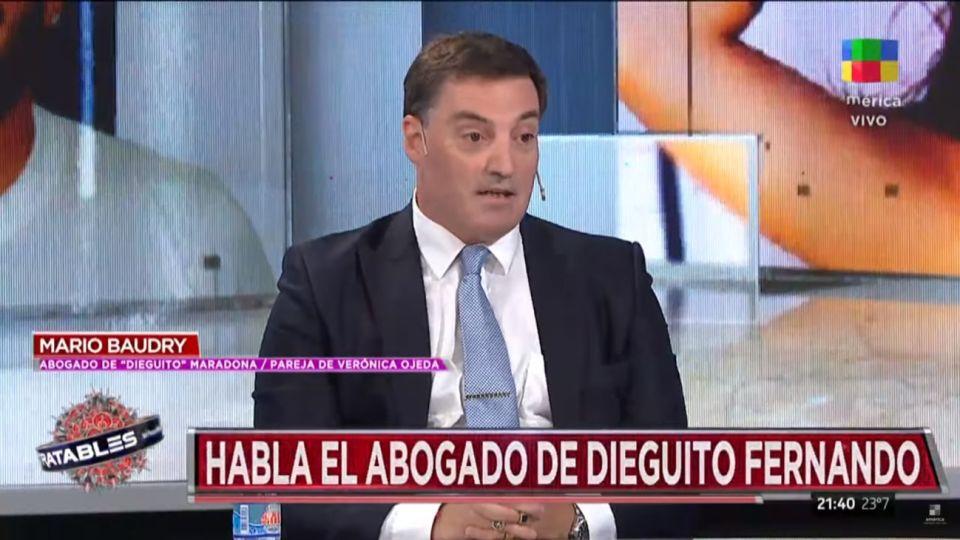 El abogado de Dieguito Fernando y pareja de Verónica Ojeda, Mario Baudry.