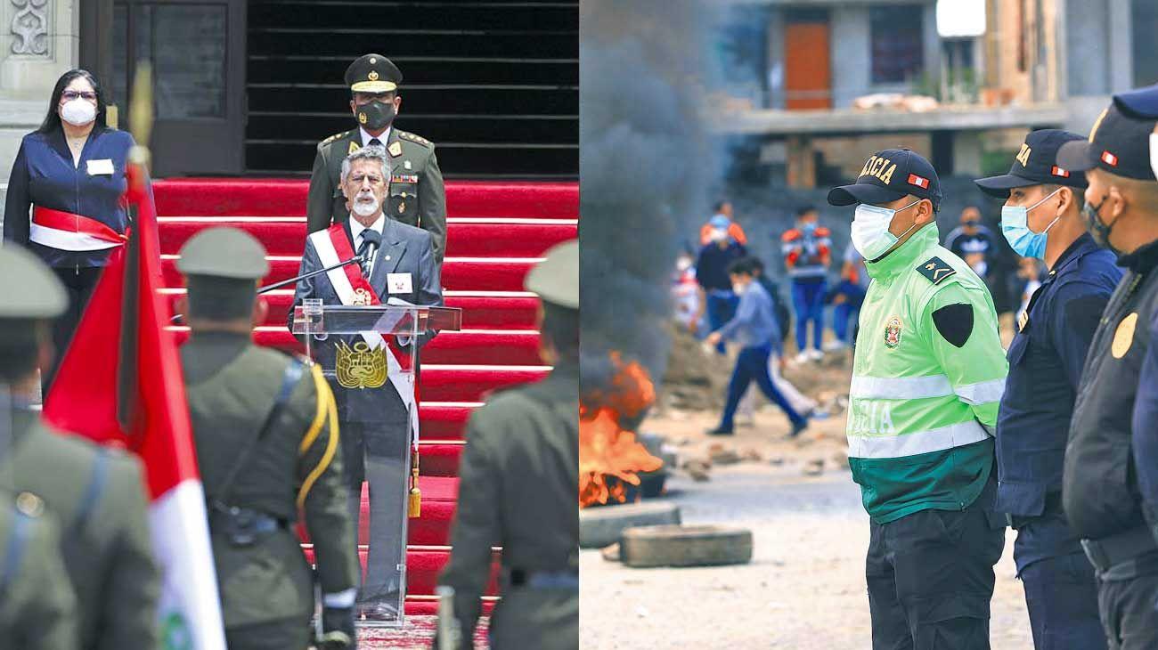 Contraste. El presidente y una de las protestas en las calles.