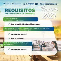 Santiago del Estero exige distintos requisitos de acuerdo al lugar de donde provengan los turistas.