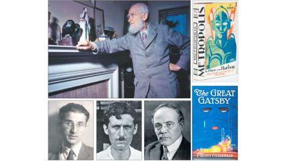 Disponibles. Arriba, George Bernard Shaw. Siguiendo el sentido de las agujas del reloj: Metrópolis, de The von Harbou; la primera edición del Gran Gatsby; Edgar Lee Master; George Orwell y Cesare Pavese.