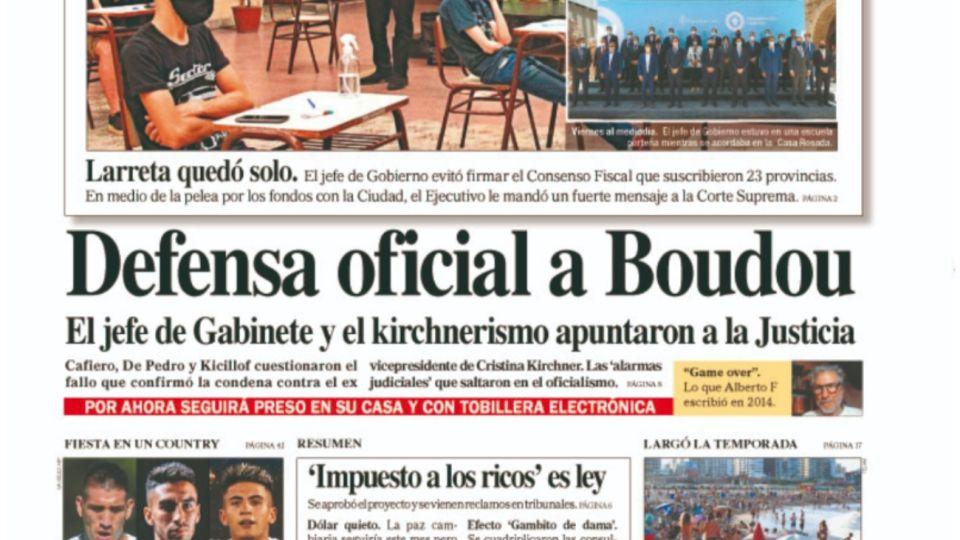 La tapa del diario PERFIL de este sábado 5 de diciembre.