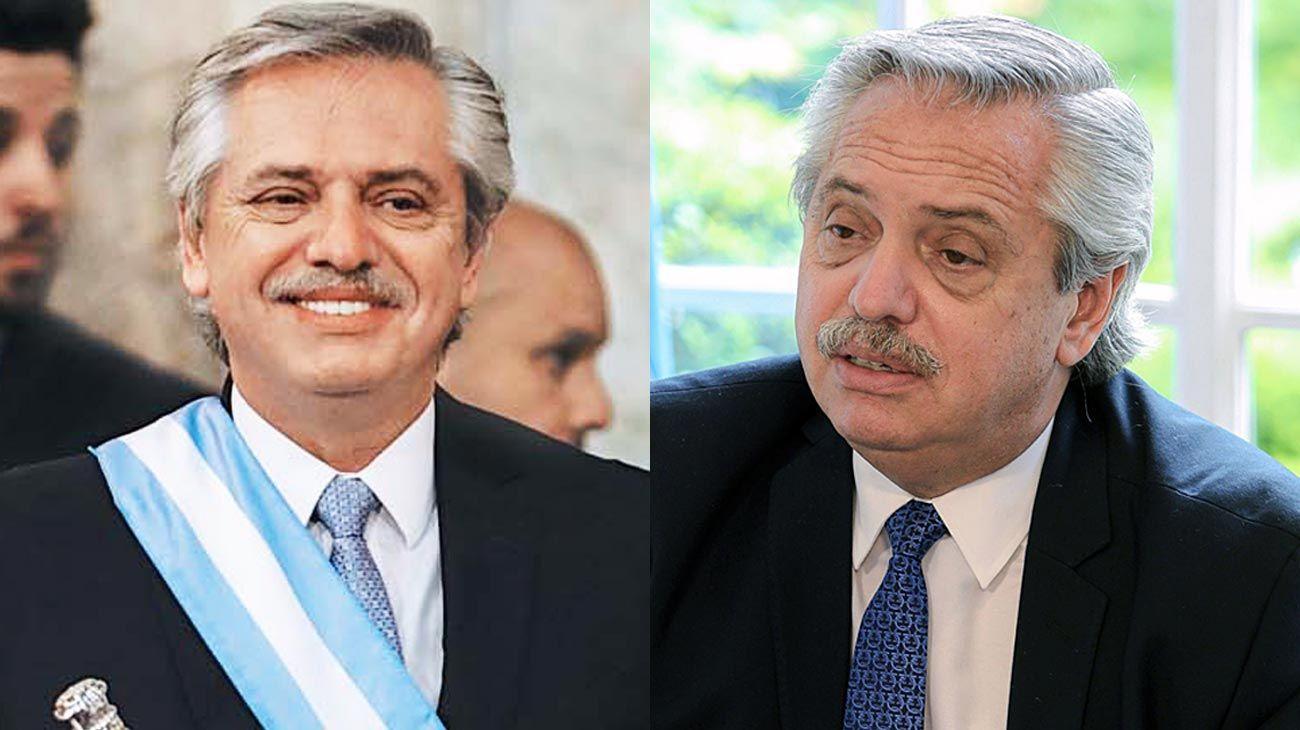 Antes y después. El difícil primer año de mandato ya dejó secuelas físicas en Alberto Fernández.