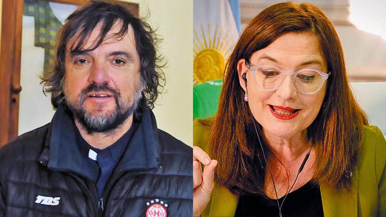 Enfrentados. Padre Pepe y la ministra bonaerense Estela Díaz.
