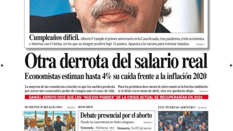 La tapa de Diario PERFIL de este domingo 6 de diciembre de 2020