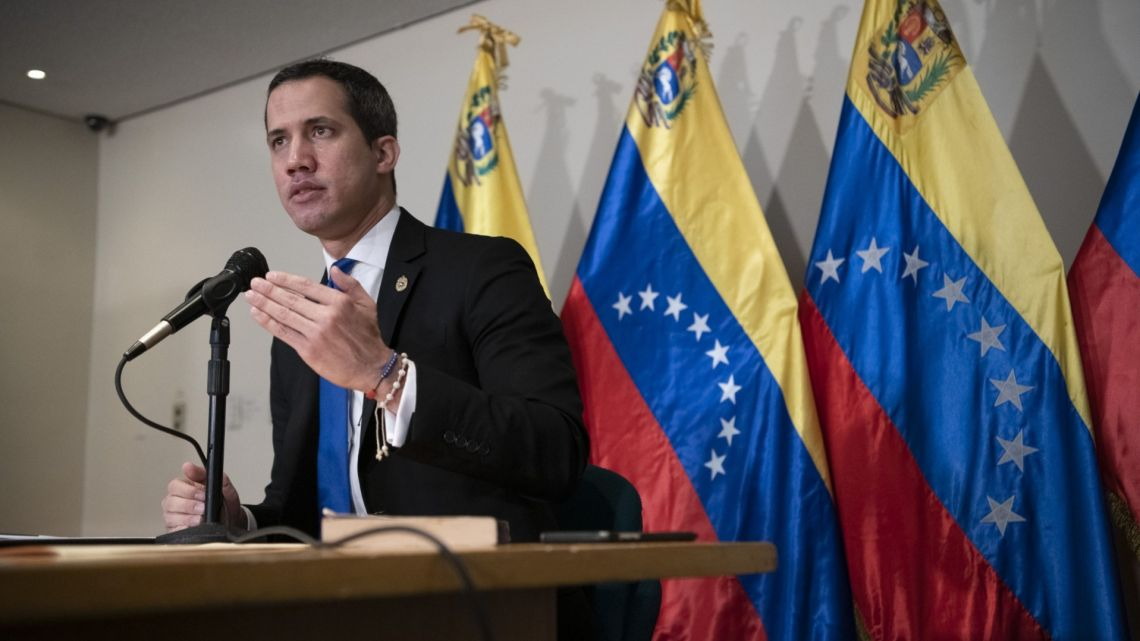 Juan Guaidó, president of the National Assembly who swore himself as the leader of Venezuela, speaks during a press conference in Caracas, Venezuela, on Saturday, December 5, 2020.