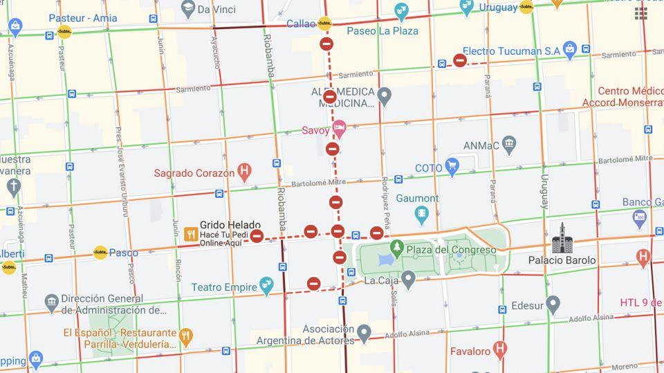 El tránsito será complicado en toda la zona alrededor del Congreso. Fuente: Google Maps.