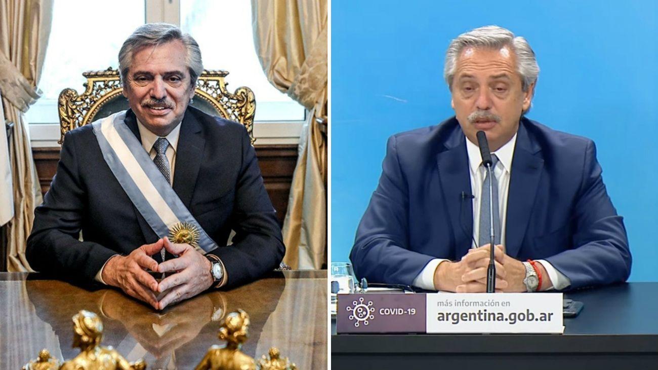 Alberto Fernandez el 10 de diciembre de 2019 y el 9 de diciembre de 2020.