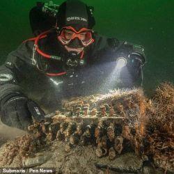 Los arqueólogos descubrieron la máquina mientras realizaban tareas de limpieza en el mar Báltico.l descuib