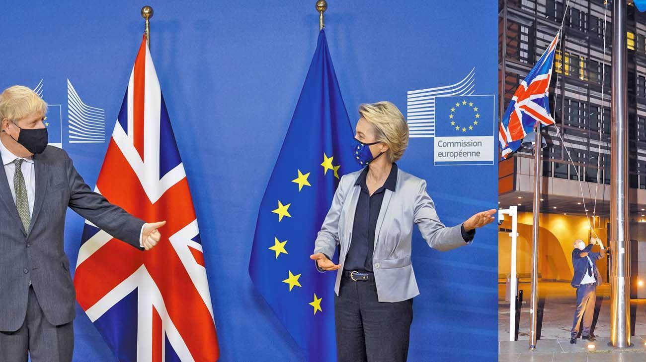 """Gestos. Boris Johnson ve """"muy, muy probable"""" un """"no deal"""", mientras que Ursula Von der Leyden, de la Comisión Europea, ya preparó un plan de contingencia para 2021. La bandera británica por ahora ondea en Bruselas."""