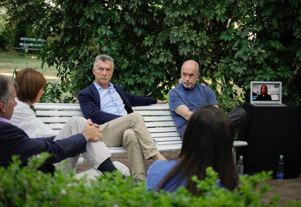 En la Pro Leadership Meeting, Bulrich, Macri, Loretta y Vidal de Zoom.