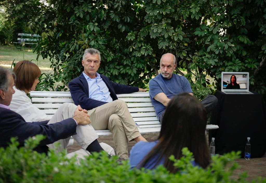 Bullrich, Macri, Larreta y Vidal desde el zoom, en la reunión de la cúpula del PRO.