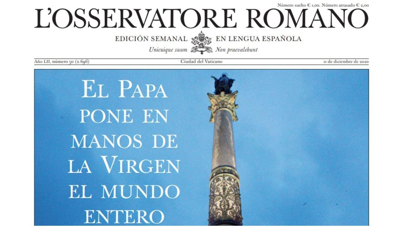 """L'Osservatore Romano de esta semana: """"El Papa pone en manos de la Virgen el mundo entero""""."""