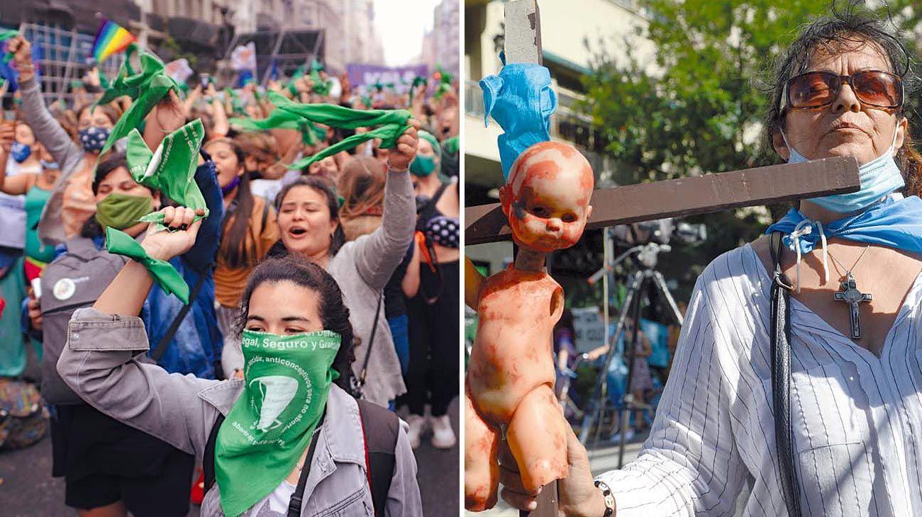 Efervescencia. Miles de manifestaciones verdes y celestes se manifestaron entre el jueves y el viernes en la Plaza del Congreso. Se espera que el clima vuelva a repetirse la última semana del año, cuando los senadores definan si se aprueba o no.