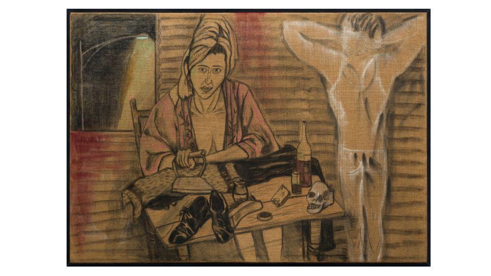 Marcia Schvartz: Sola, 2004, Técnica mixta sobre arpillera, 140 x 200 cmts.