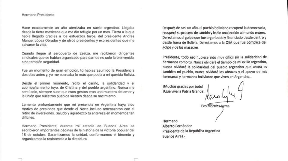 Carta Evo Morales Alberto Fernández