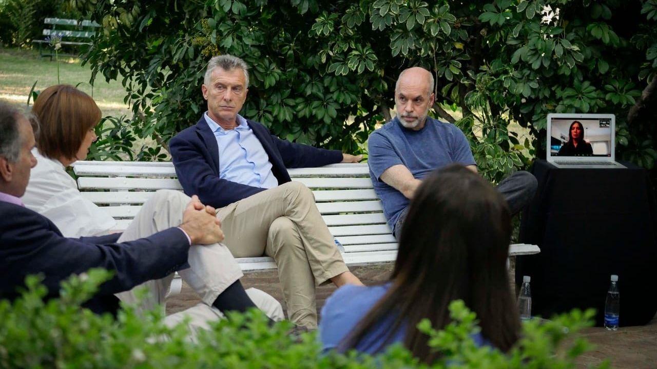 Macri, en una de sus últimas apariciones, con Bullrich, Larreta y Vidal de manera remota.