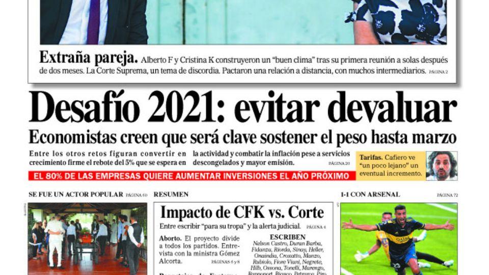 La tapa del Diario PERFIL de este domingo 13 de diciembre de 2020