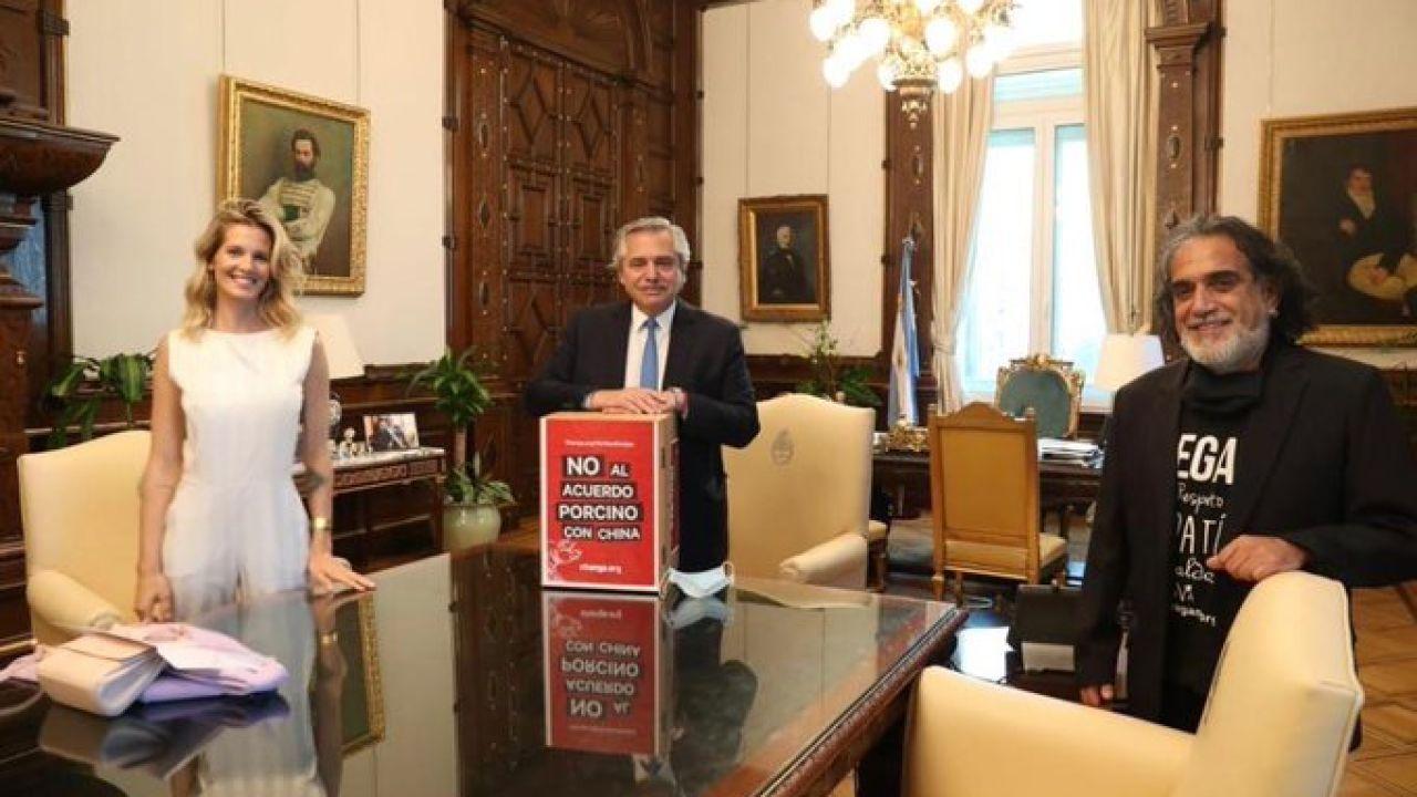 Alberto Fernández con Liz Solari   Foto:Cedoc