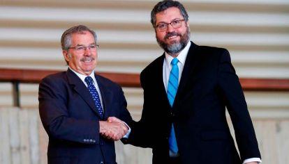 el canciller brasileño Ernesto Araújo y canciller argentino Felipe Solá