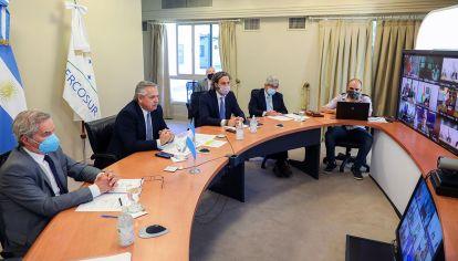 AS BAIRES DICIEMBRE 16: El presidente Alberto Fernández participó esta mañana de la Cumbre Virtual de Jefes de Estado del Mercosur y de los Estados Asociados,