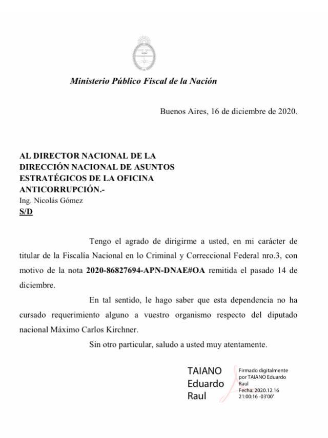 Comunicado OA Máximo Kirchner