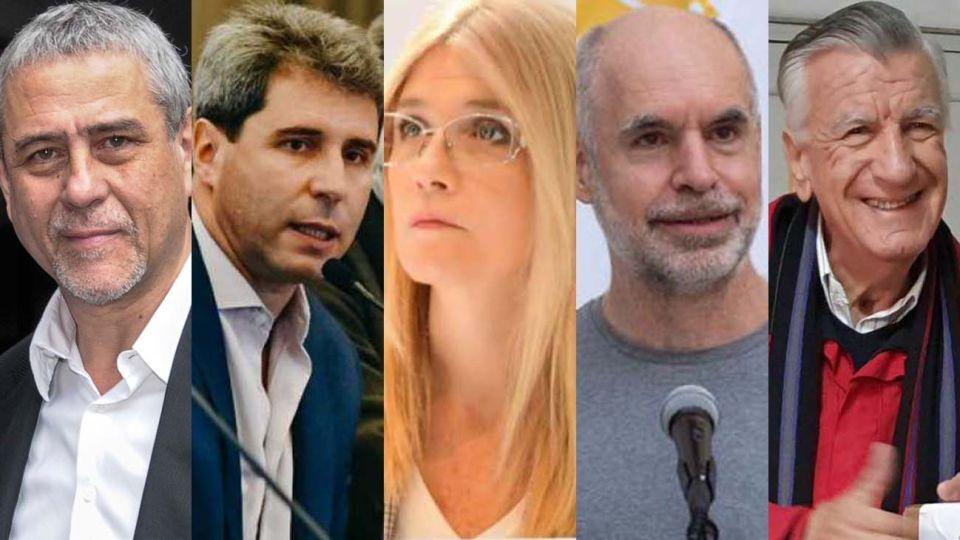 Jorge Ferraresi; Sergio Uñac; Horacio Rodríguez Larreta; Verónica Magario; y José Luis Gioja.