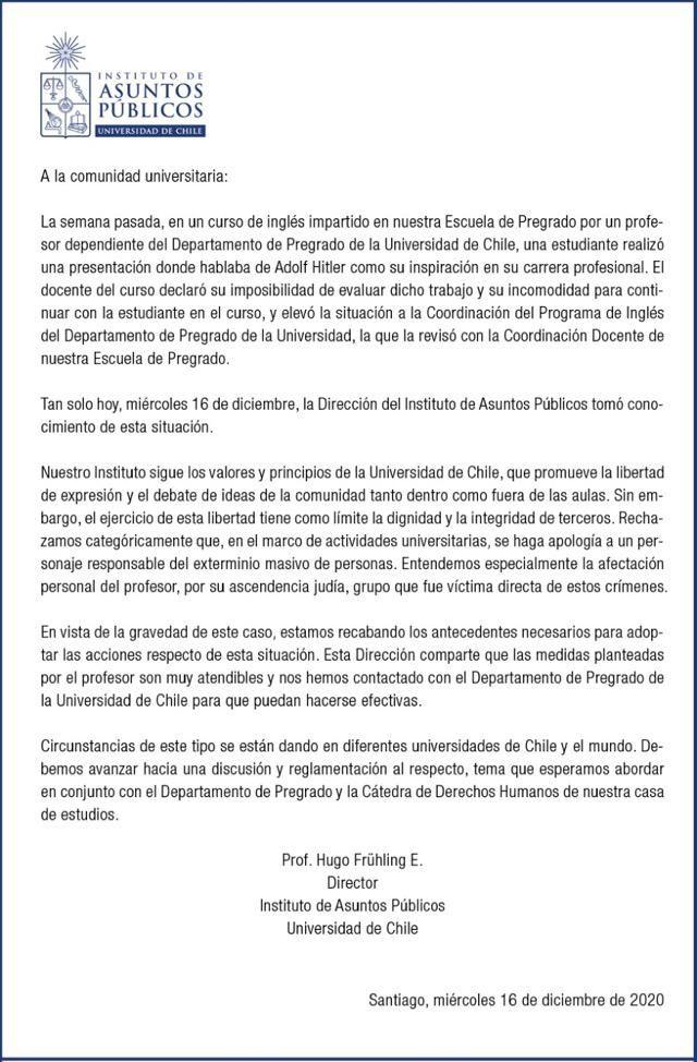 Declaración de la Universidad chilena sobre el caso la alumna filonazi