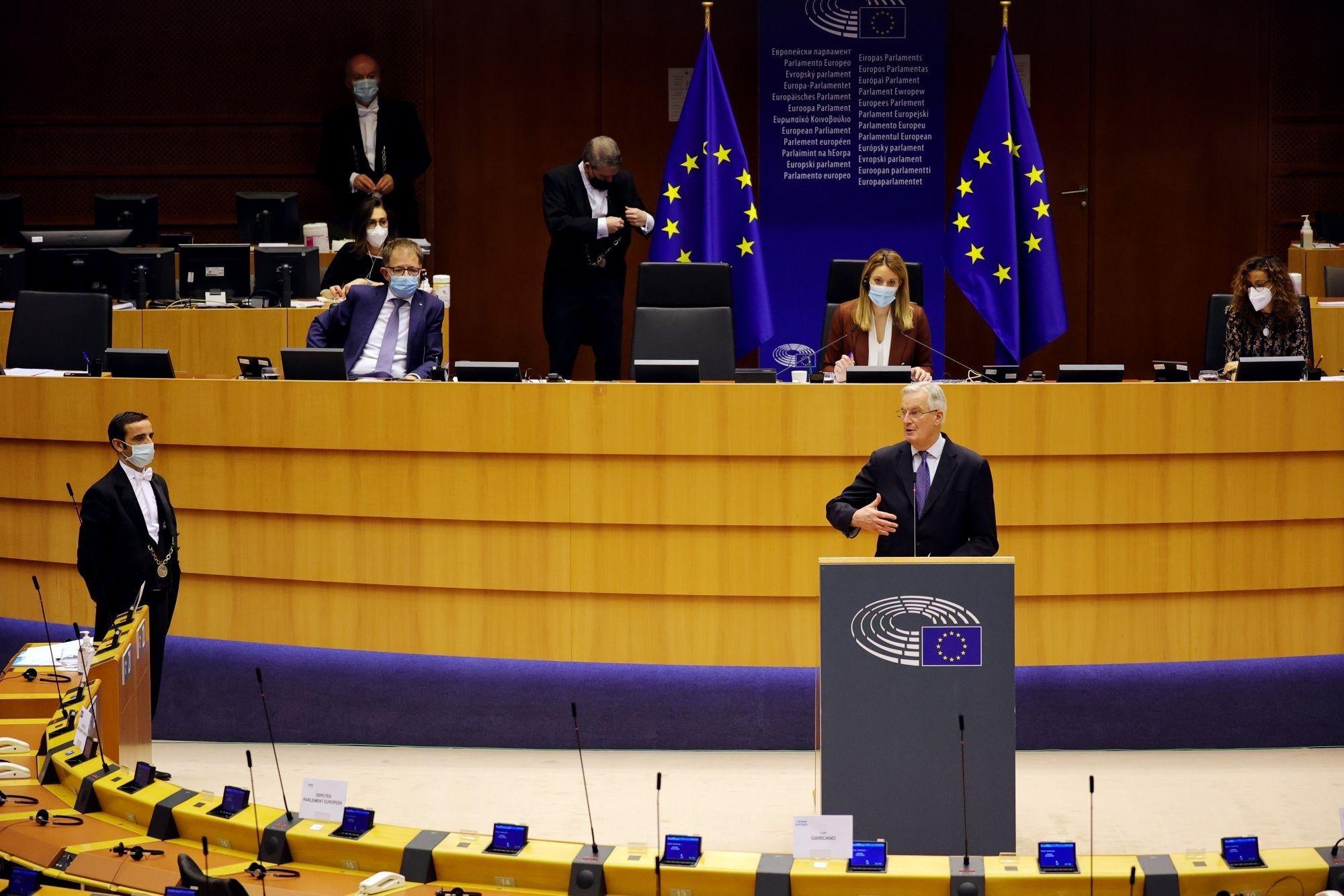 EU Chief Negotiator Michel Barnier Addresses Parliament Brexit Plenary