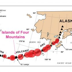 Las islas Aleutianas conforman un archipiélago que contiene 40 volcanes activos y 17 inactivos.
