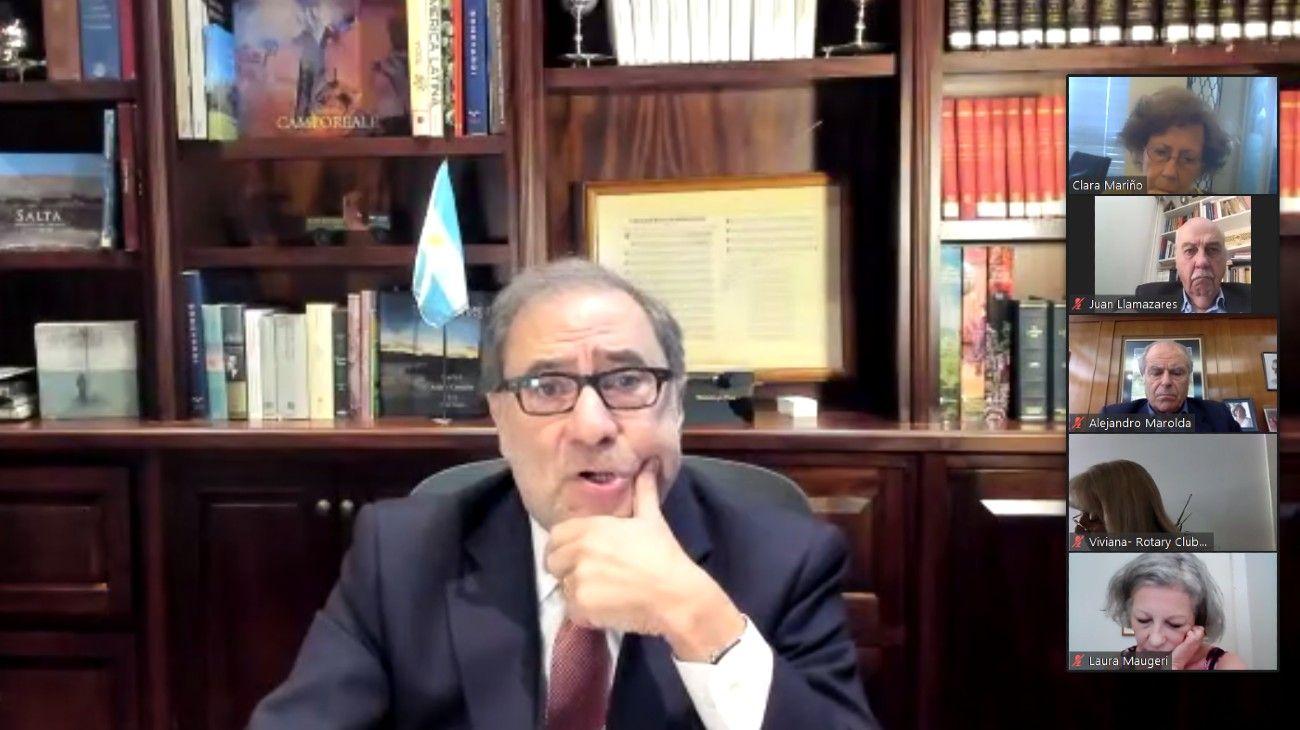 El embajador Jorge Argüello se sumó a la sesión virtual del Rotary Club y habló sobre el vínculo con EE.UU.