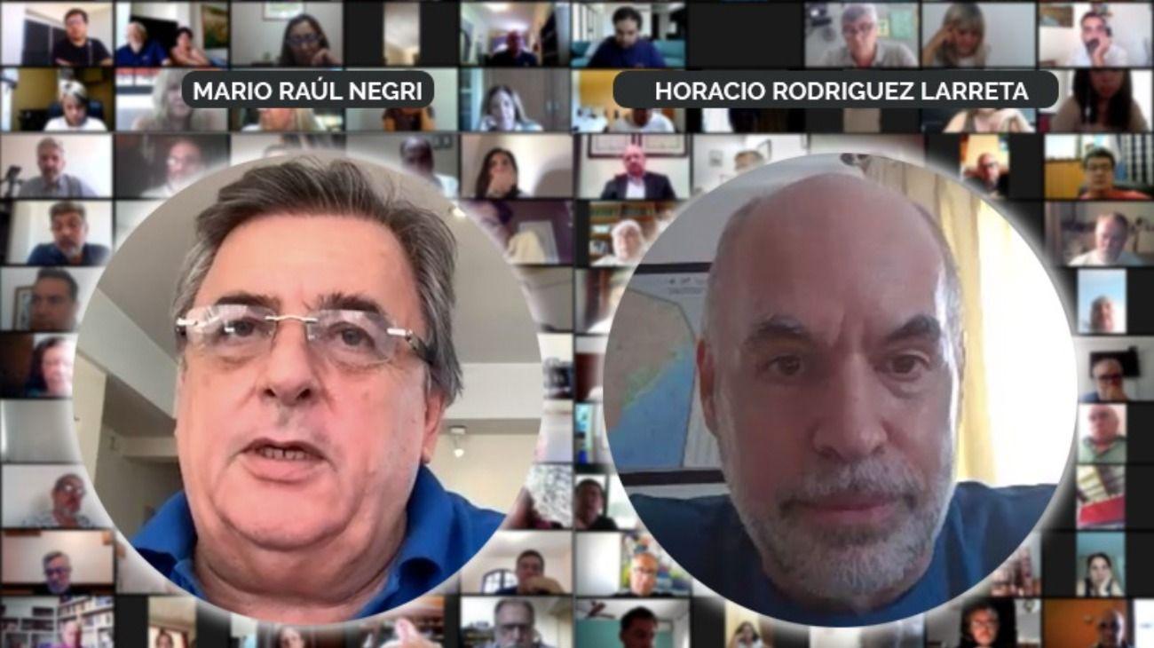 Mario Negri y Horacio Rodríguez Larreta, en un zoom con más de mil dirigentes de Juntos por el Cambio