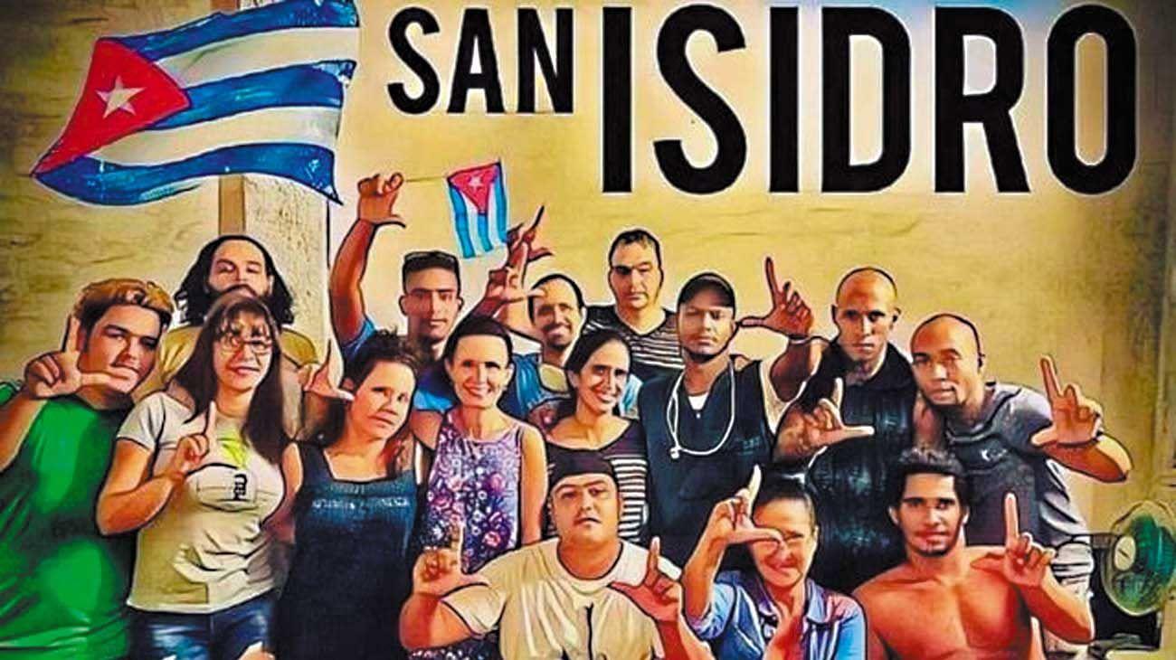 """Reclamo. Los jóvenes artistas que protagonizaron la protesta ante el Ministerio de Cultura reclamando libertad para crear. El régimen los acusó de impulsar un """"golpe blando"""" al servicio de Washington."""