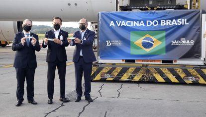 BRASIL. Esta semana arribaron al aeropuerto de Guarulhos, San Pablo, 120 mil dosis.de la vacuna de Sinovac.