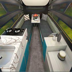 La versión más completa incluye cocina, mesada y una mesa con bancos en forma de U.