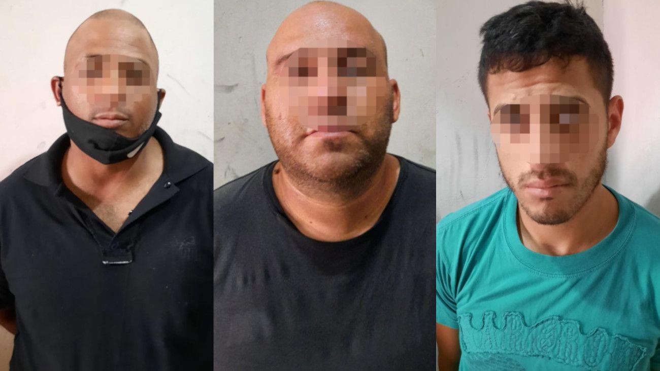 Los tres sospechosos detenidos por el asalto al banco Provincia de Villa Diamante.