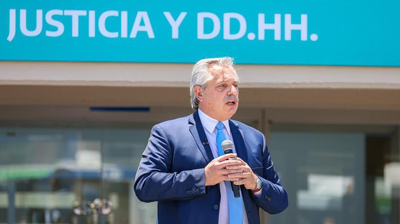 Alberto Fernández en un acto hoy inaugurando obras en cárceles