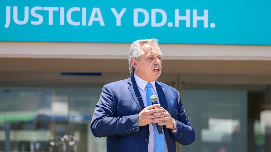 Alberto Fernández en un acto hoy inaugurando obras en cárceles 20201223