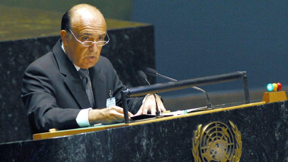 Carlos Ruckauf, en la ONU, cuando era canciller de Duhalde. (Archivo NA)