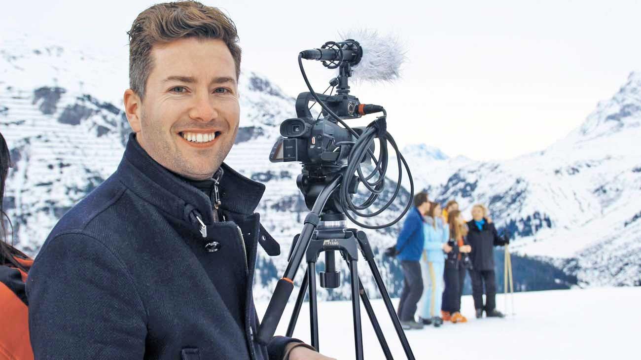 Foto. Rick Evers junto a la familia real en un viaje a Lech, Austria, en febrero del 2020.