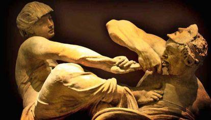 Lucha. Escultura de Alfred Stevens (1817-75): la Verdad arranca la doble lengua de Falsedad.