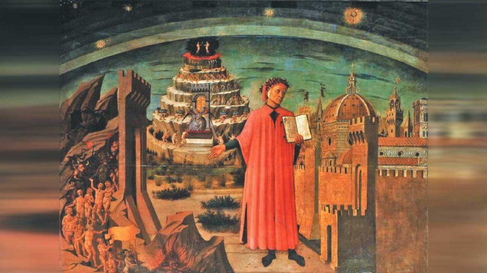 Dante. Dante Alighieri en un lienzo de Domenico di Michelino que se encuentra en la catedral de Florencia.