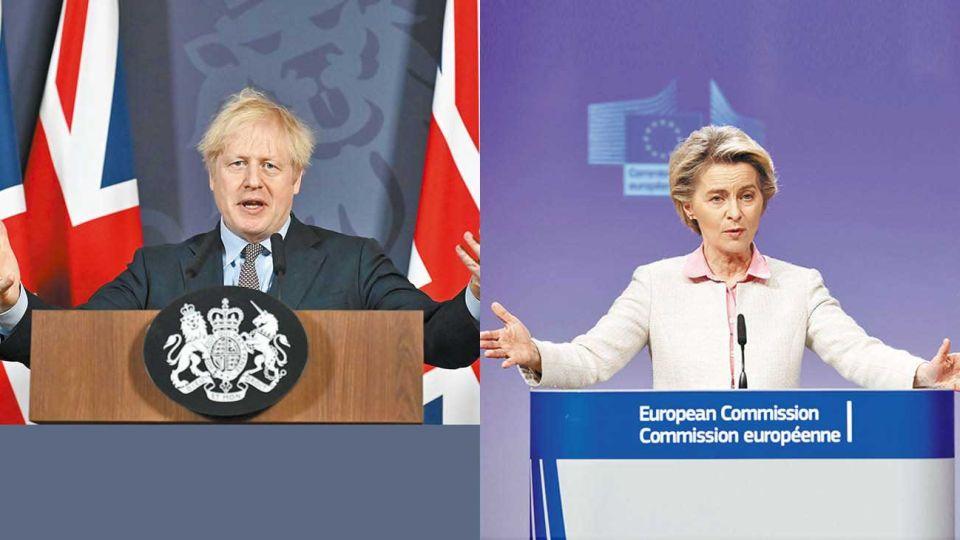 """Brazos abiertos. El premier británico Boris Johnson elogió en entendimiento y lo calificó un """"regalito"""" para la población. La presidenta de la Comisión, Ursula von Leyden, lo describió como """"equilibrado""""."""