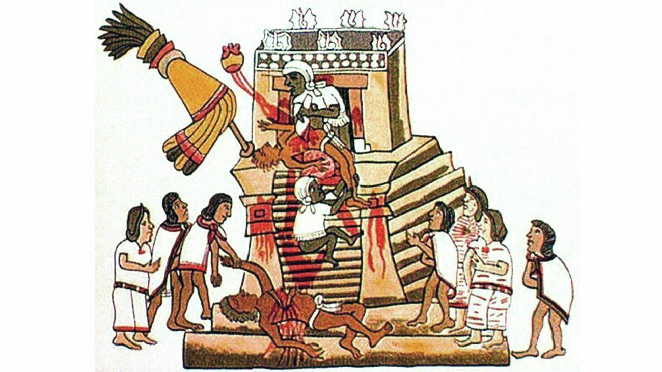 Aztecas. Sacrificio humano al dios de la guerra Huitzilopochtli. La ofrenda es un corazón. Reproducción del Codex Magliabecchi.