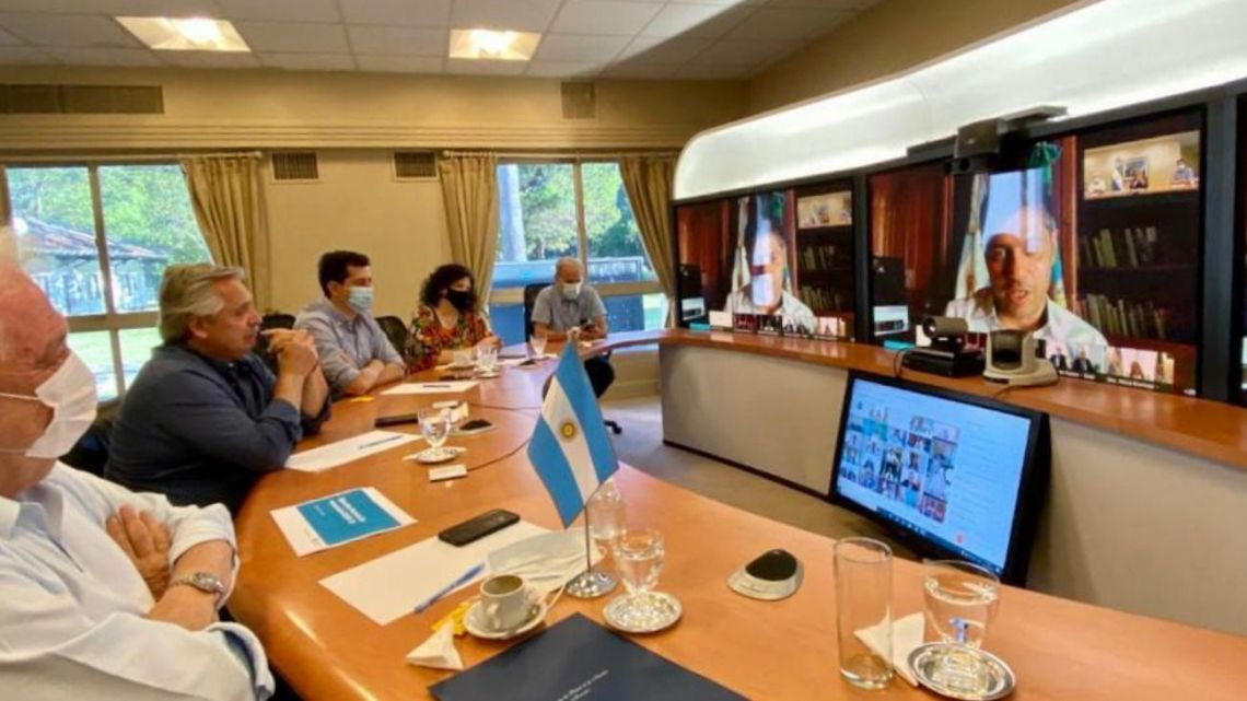 President Alberto Fernández holds a videoconference meeting with provincial governors to discuss the rollout of the Covid-19 vaccine in Argentina.