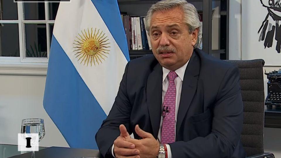 El presidente Alberto Fernández en entrevista con la TV Pública.