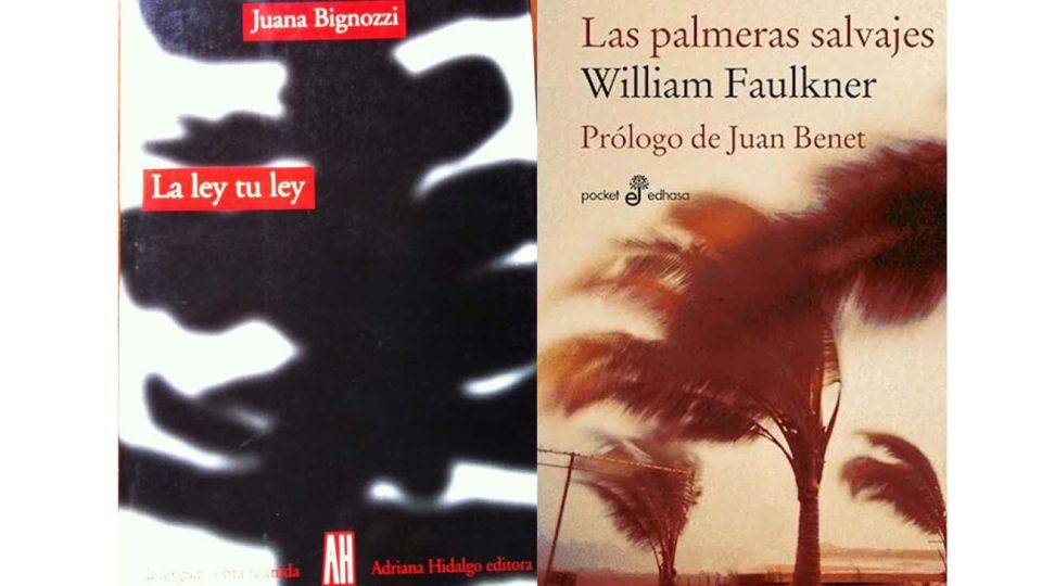 libro Mi ley, tu ley, de la poeta Juana Bignozzi y de William Faulkner, Las Palmeras Salvajes.