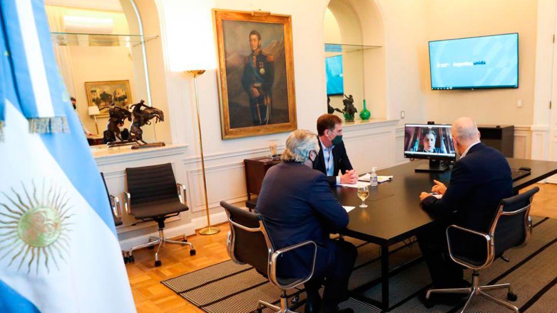 Alberto Fernandez, Larreta, Santilli and Kicillof during an online meeting.