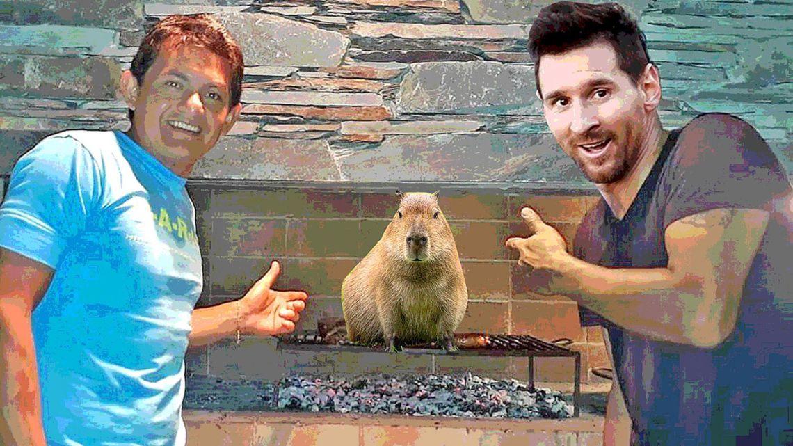 La Pulguita and La Pulga, preparing for a capybara asado.