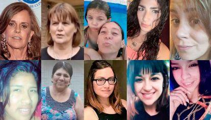 Atacadas en sus casas. Silvia Saravia (69), Cristina Cattaneo (55), Ada (7) y Cristina Iglesias (40), Dolores Juncos (35), Jésica Minaglia (30), Alba Orqueda (18), Juana Valdez (43), Julieta Riera (24), Micaela Salazar (28), Quimey Lambert Tamay (19).
