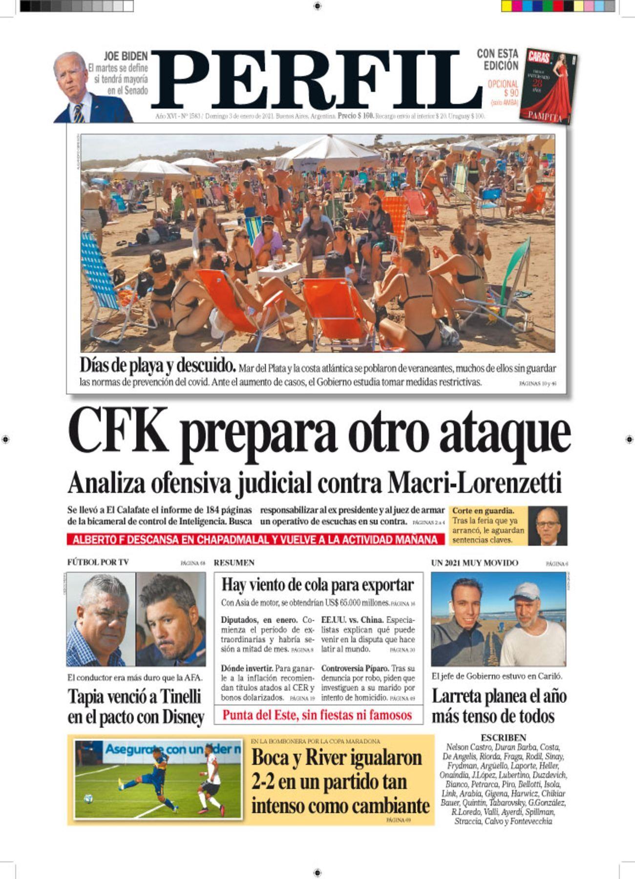 La tapa de Diario PERFIL de este domingo 3 de enero de 2021.